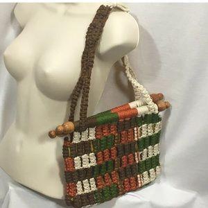 4/$35 Handmade purse wood rods boho chic lined bag